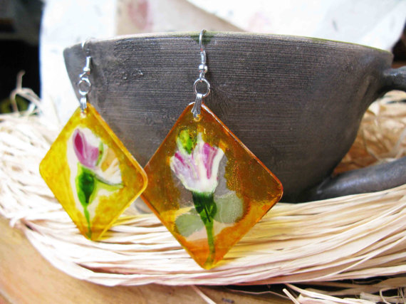 Магазин Цветно Пловдив earrings with natural flowers - 4 Seasons Summer