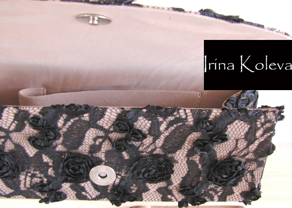 Ирина Колева Collection bag black embossed roses Irina Koleva